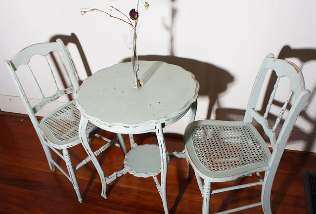 sold vintage french style bistro patio table and 2 chairs