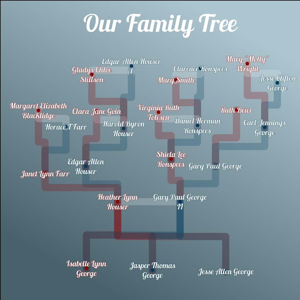 Family Tree Hierarchy - Blue