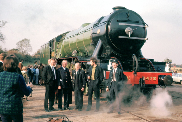 t Market Overton 4472 Flying Scotsman with BR staff for the High Dyke section of the trip Oct 73 J3472