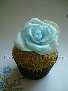 Pale Blue Glitter Rose