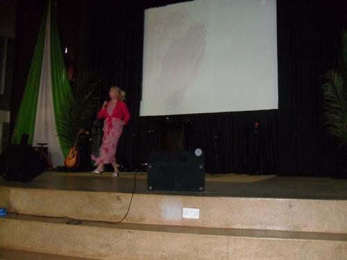 Catherine preaching on Palm Sunday at K3C, Kileleshwa
