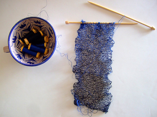 Knitting With Embroidery Thread : Blues knitting with sewing thread annekata