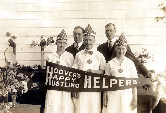 Hoover's Happy Hustling Helpers--County Agent, A.R. Chase and County Supt. C.T. Bonney with the Wasco County Canning Team, ca. 1917