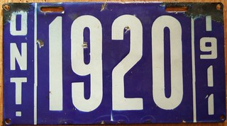 ONTARIO 1911 ---LICENSE PLATE, ONTARIO'S ONLY PORCELAIN ISSUE