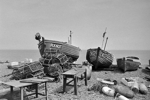 Part of the Deal fishing fleet sitting on the shingle beach