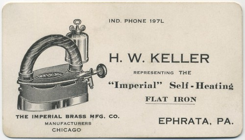 H. W. Keller Representing the Imperial Self-Heating Flat Iron