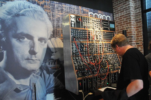 Moogfest 2014 Bob Moog photo with new Moog Modular Synthesizer