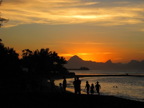 Sunset in Tahiti.