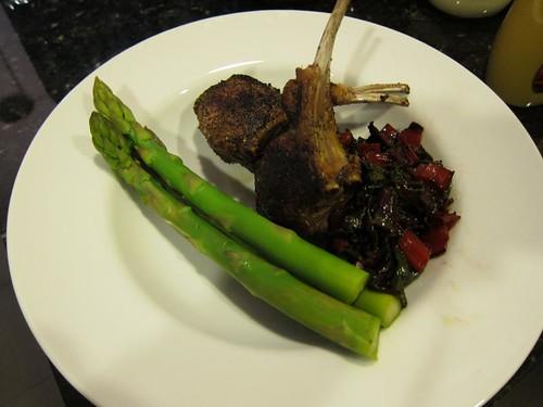 lamb chops, sauteed red chard, poached asparagras IMG_5428