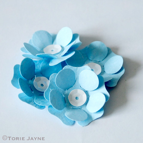 Hand-made paper blue flowers