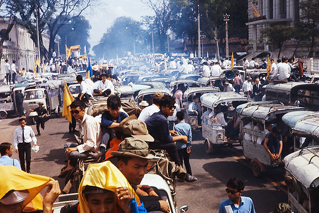 05 Nov 1968, Saigon, South Vietnam - Bombing halt protest on Thong Nhut Boulevard near the American Embassy