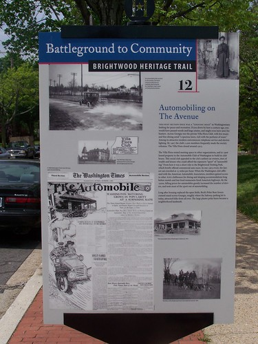 Brightwood's Automobile culture, history trail sign