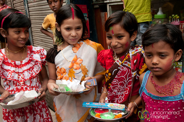Young Girls All Decked out for Holi - Old Dhaka, Bangladesh