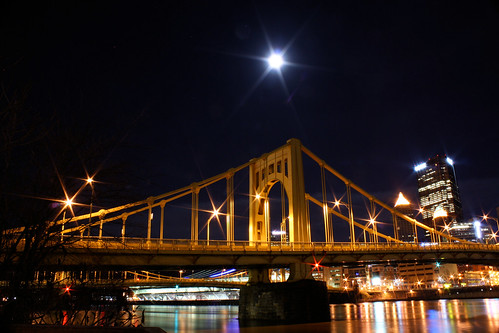 moon over warhol bridge