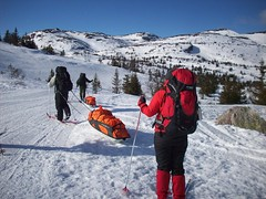 telemark skiing(0.0), snowshoe(1.0), ski equipment(1.0), winter sport(1.0), footwear(1.0), mountain(1.0), winter(1.0), ski(1.0), piste(1.0), sports(1.0), snow(1.0), mountaineering(1.0), mountain range(1.0), ski touring(1.0), extreme sport(1.0), mountain guide(1.0), ski mountaineering(1.0), nordic skiing(1.0),