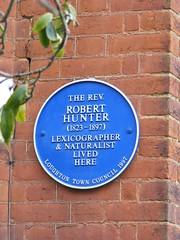 Photo of Robert Hunter blue plaque