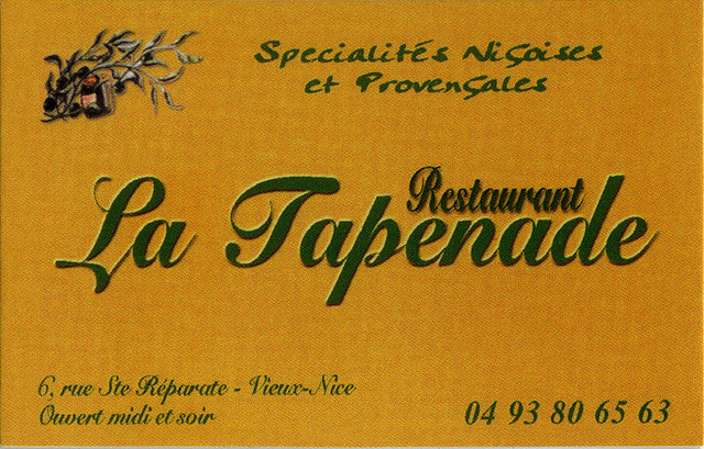 ephemera - Nice, Restaurant La Tapenade, business card