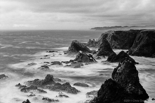 Evening Seascape - Mendocino County - Nikon FE - Nikkor-SC 55mm f/1.2 - TMAX 100
