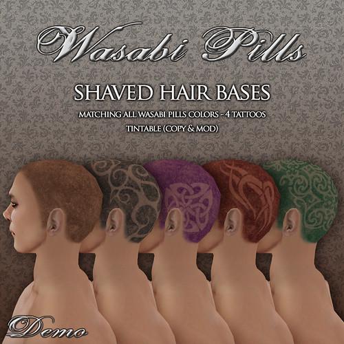Wasabi Pills shaved hair bases by Wasabi Pills