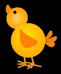 chick 3 sketch clipart, looking up_ lge 10 cm