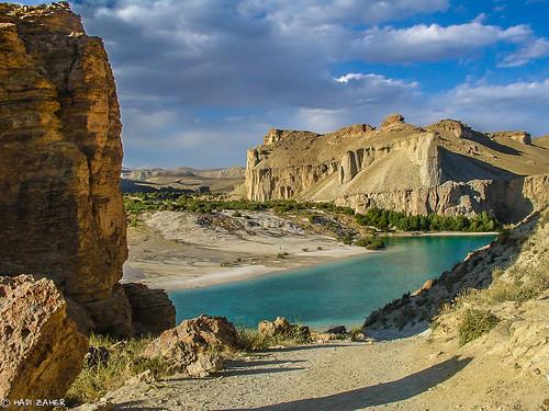park blue lake afghanistan mountains crystal central band first national amir limestone bamiyan pristine hazarajat ameer hazara bamyan bamian hindukush