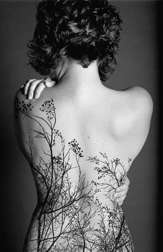 bodytreetattooblackandwhiteflower
