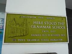 Photo of Cheltenham Grammar School and Richard Pate green plaque