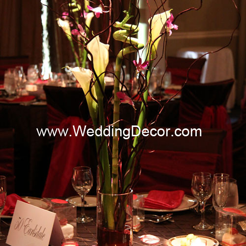 Wedding centerpieces calla lilies curly willow bamboo
