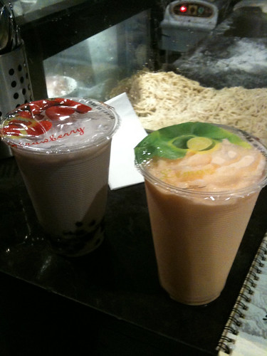 Taro bubble tea & Papaya ice crush
