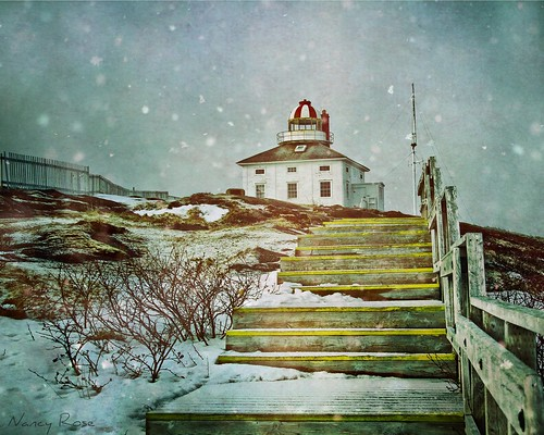 lighthouse snow stairs fence newfoundland wooden rocks steps snowing railing capespear mosteasterlypointinnorthamerica wenttoseethesunrise