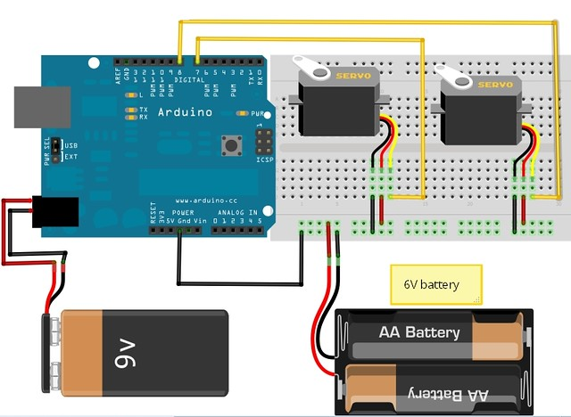 How to connect servo arduino community of robots