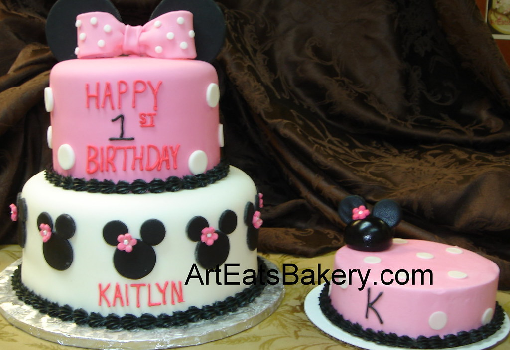 Pink And Black Two Tier Custom Designed Minnie Mouse 1st Birthday