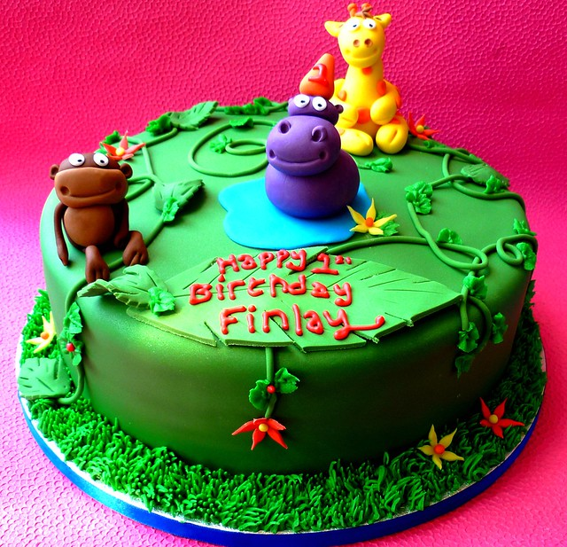 1st Birthday Jungle Theme Cake