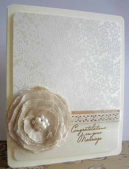 CL268 Warmest Wedding Wishes S5341 Lace Background CH231 Lace Ribbon