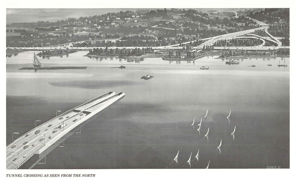 Proposed underwater tube crossing of Union Bay, 1960s