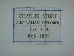 Photo of Charles Sturt white plaque