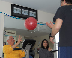 Rich Zagardo catches a ball during an exercise class at HOPEFitness in North Bellmore, N.Y.