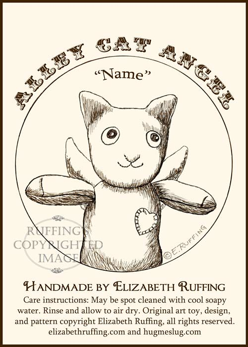 Alley Cat Angel Sock Kitten Art Toys by Elizabeth Ruffing, hang tag