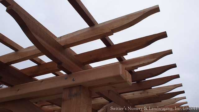 The complete assembly of a Classic Cedar Pergola  by Switzer's