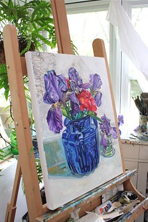 blue pitcher irises easel