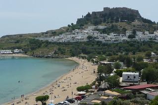 Lindos Beach (Παραλία Λίνδου) Kavicsos, köves strand képe. beach greece acropolis rodos rhodes lindos sunflowerbooks