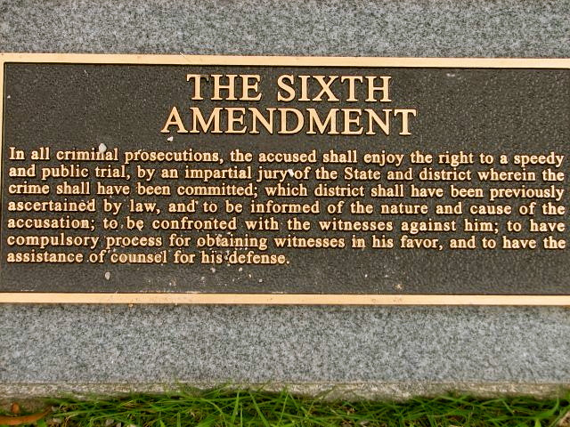 the sixth amendment The sixth amendment to the us constitution reads: in all criminal prosecutions, the accused shall enjoy the right to a speedy and public trial, by an impartial jury.