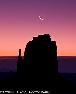 Crescent Moon over East Mitten, Sunrise (Monument Valley, UT)