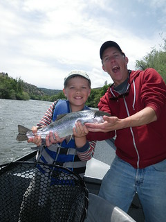 Father admires Hank with his Klamath River Steelhead on a dry fly!