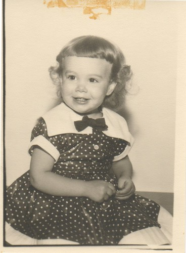 polka dot dress, about 1957 or 1958