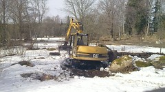 vehicle, tree, snow, snow removal, construction equipment, bulldozer,