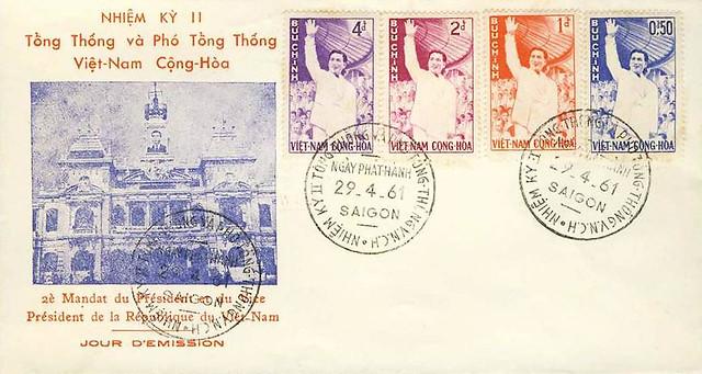 VIET NAM - 1961 - PRESIDENT´s RE-ELECTION SET ON FDC - SAIGON 29 IV 61