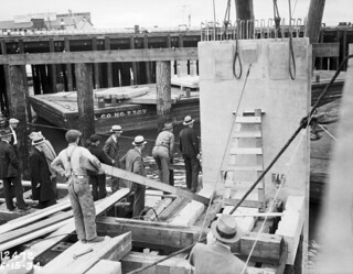 First slab of seawall being placed, 1934