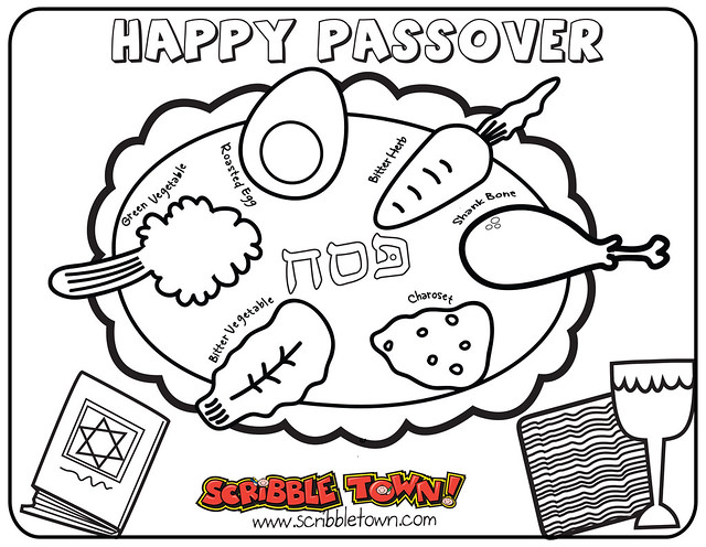 seder plate for passover colouring pages