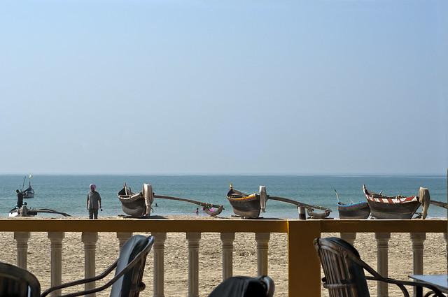 Boats on the Palolem Beach, Goa, India